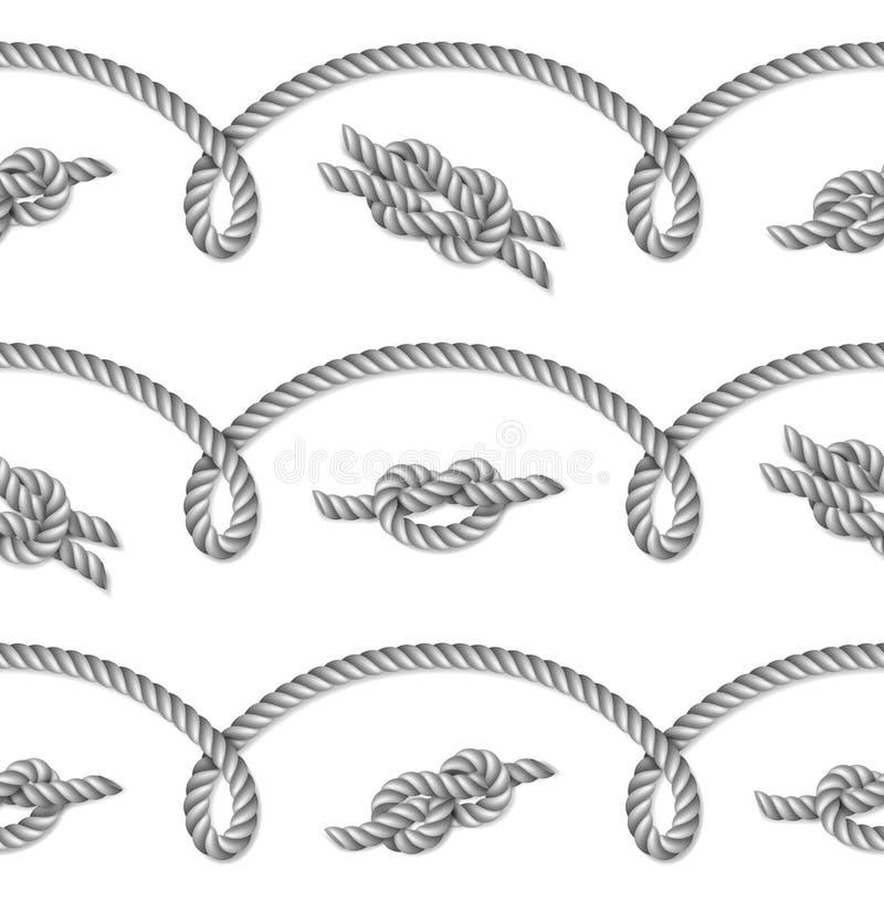 Vävt nautiskt grått rep, sömlös modell, bakgrund stock illustrationer