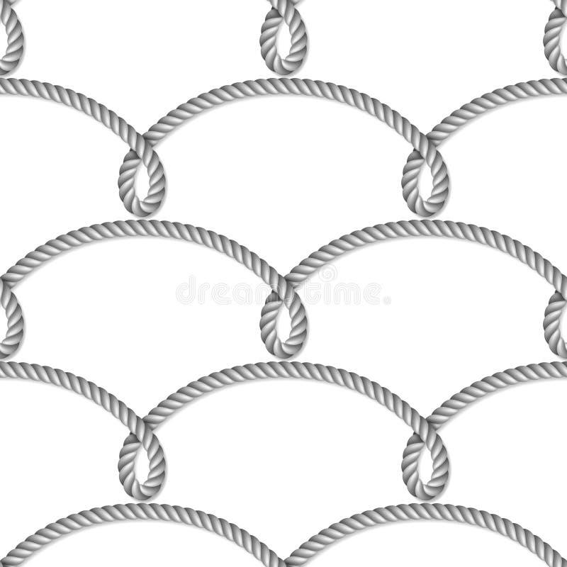 Vävt nautiskt grått rep, sömlös modell, bakgrund vektor illustrationer