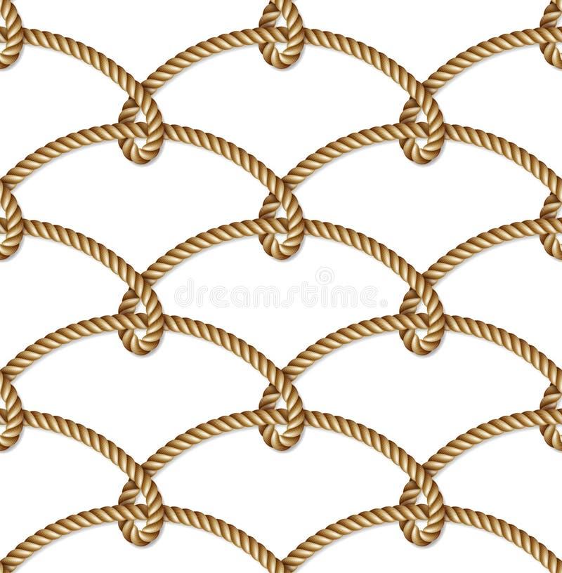 Vävt nautiskt gult rep, sömlös modell, bakgrund stock illustrationer