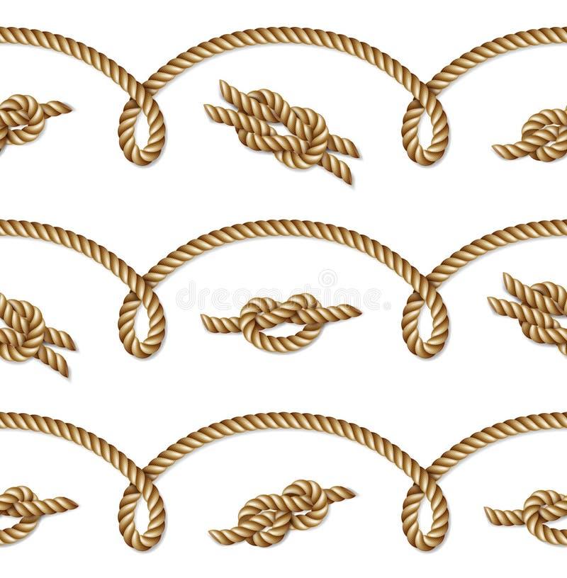 Vävt nautiskt gult rep, sömlös modell, bakgrund vektor illustrationer