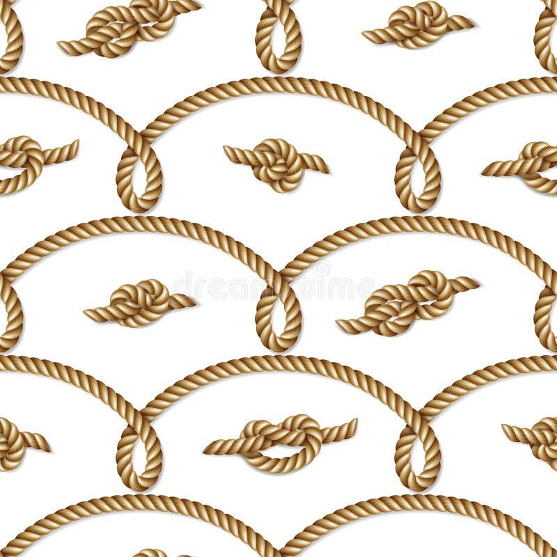 Vävt nautiskt gult rep, sömlös modell, bakgrund royaltyfri illustrationer
