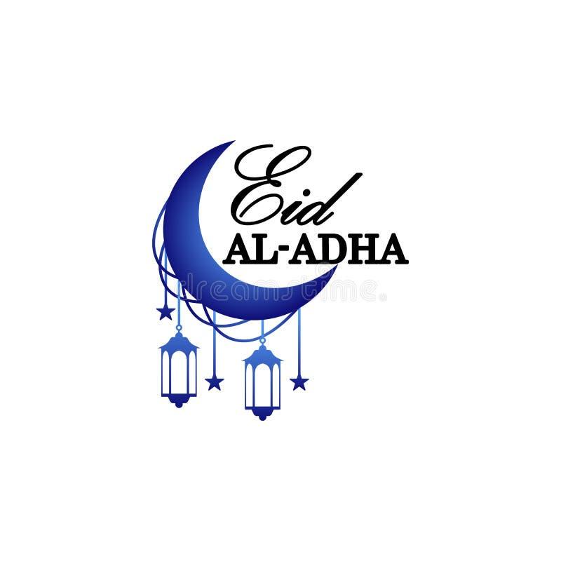 Växande blå måne med arabisk islamisk kalligrafi av textEid-Ul-Adha Mubarak för muslimska berömmar för gemenskapfestival royaltyfri illustrationer