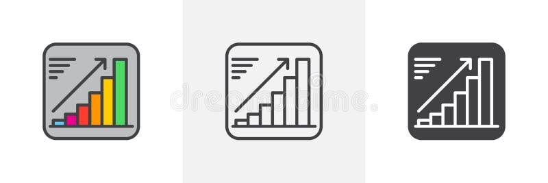 Växande diagramsymbol stock illustrationer