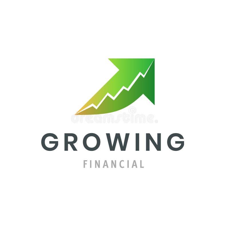 Växande finansiell framgångaffärslogo Modernt grafsymbol Företagssymbolsmall vektor illustrationer