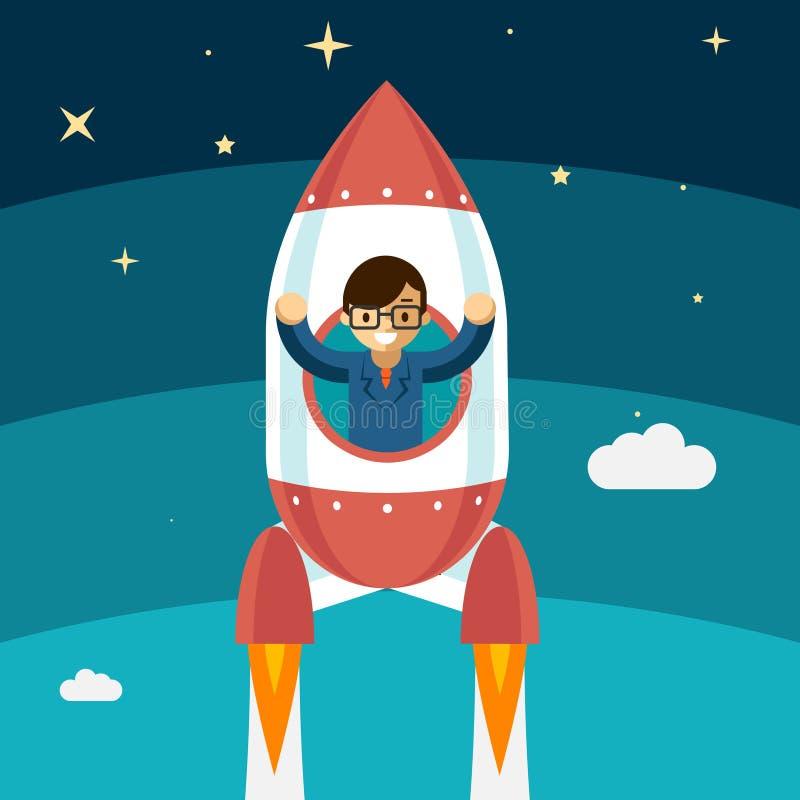 Växande framgång för affärsman stock illustrationer