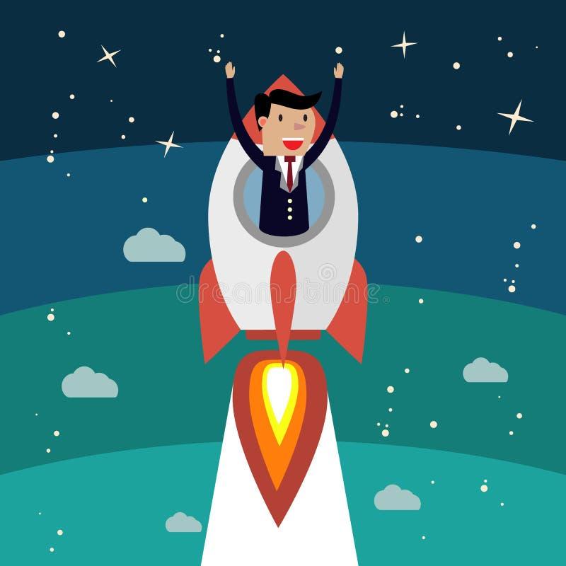 Växande framgång för affärsman Raketfluga upp, vinnareperson vektor illustrationer