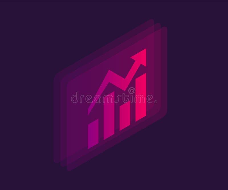 Växande isometrisk symbol för stånggraf Illustration f?r vektor 3d royaltyfri illustrationer
