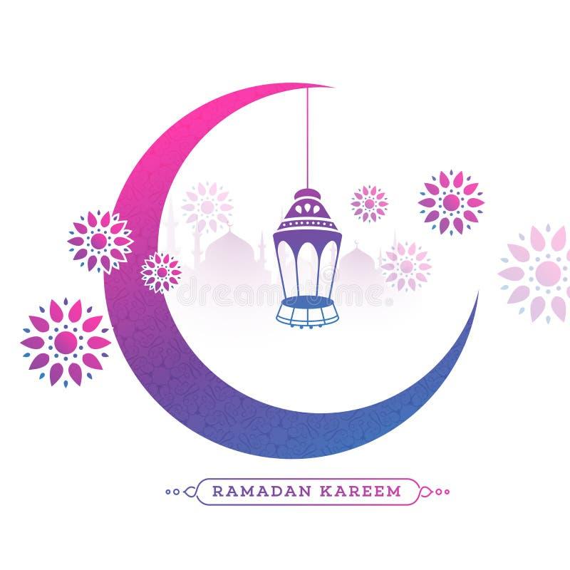 Växande måne med den hängande lyktan och den blom- designen som dekoreras på vit bakgrund för kort för Ramadan Kareem berömhälsni royaltyfri illustrationer