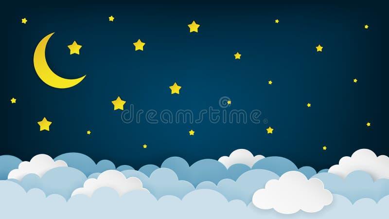 Växande måne, stjärnor och moln på den midnatta himmelbakgrunden Bakgrund för landskap för natthimmel pappers- konststil stock illustrationer