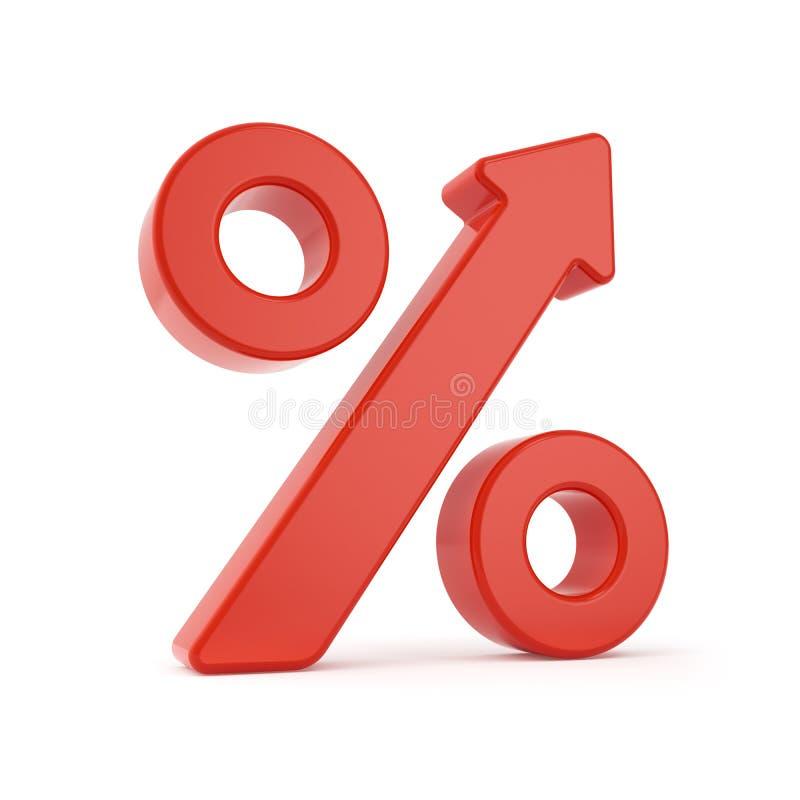 Växande procentpiltecken stock illustrationer