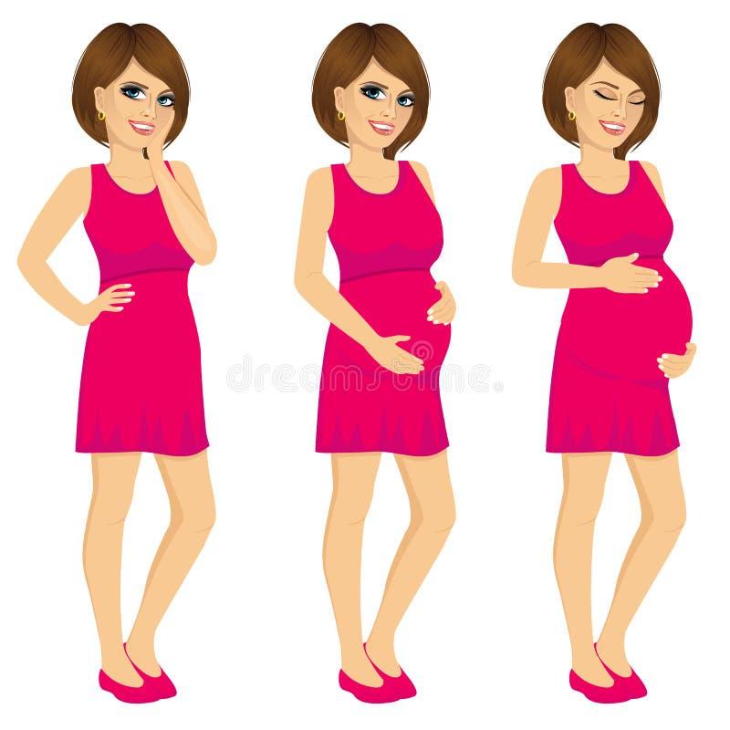 Växande process för gravid kvinnavisninghavandeskap stock illustrationer