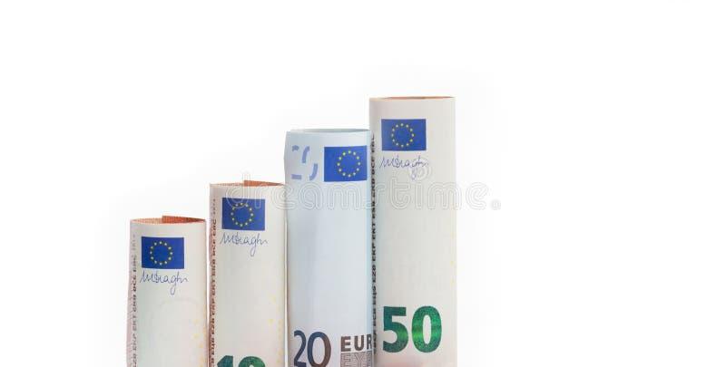 Växande stånggraf från eurovalutasedlar royaltyfri fotografi