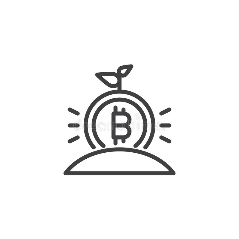 Växande symbol för bitcoingroddöversikt stock illustrationer