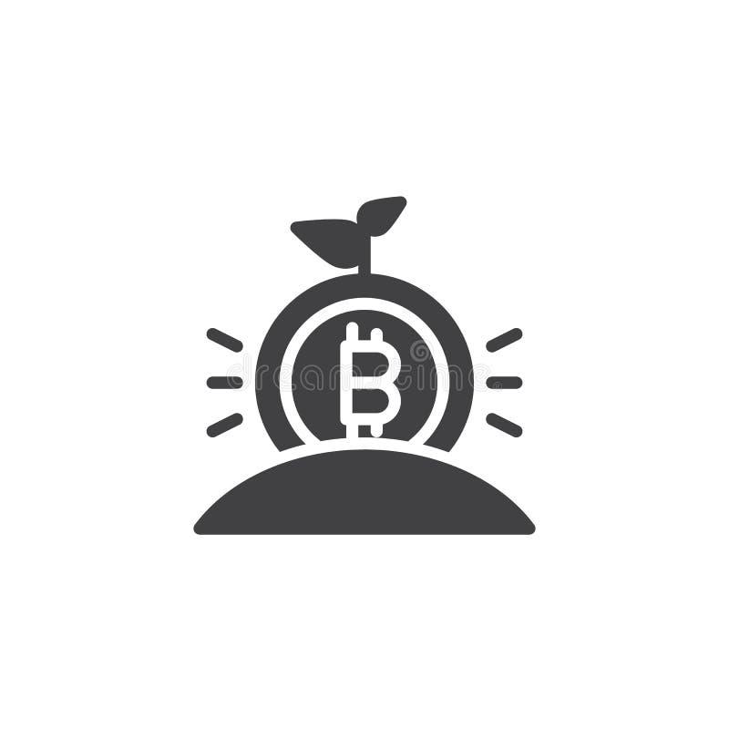 Växande symbol för bitcoingroddvektor royaltyfri illustrationer
