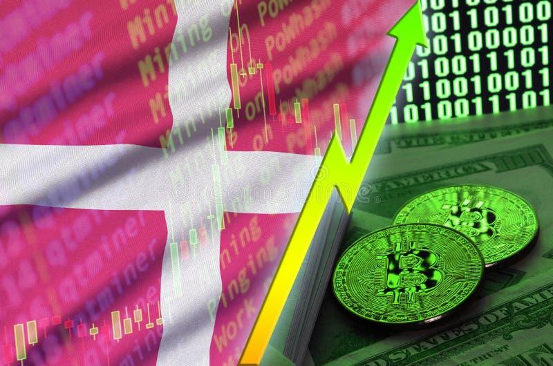 Växande trend för för Danmark flagga och cryptocurrency med två bitcoins på dollarräkningar och skärm för binär kod royaltyfri foto