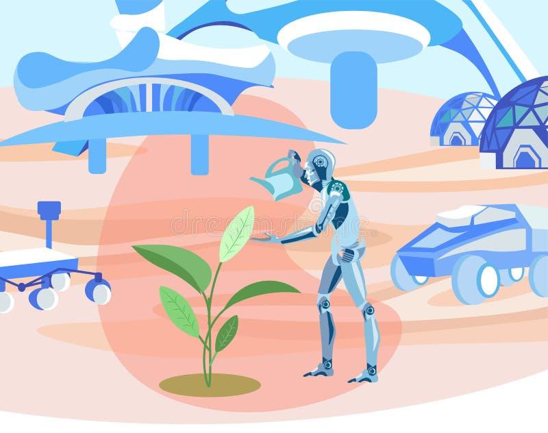 Växande växter för robot i plan illustration för kosmos vektor illustrationer