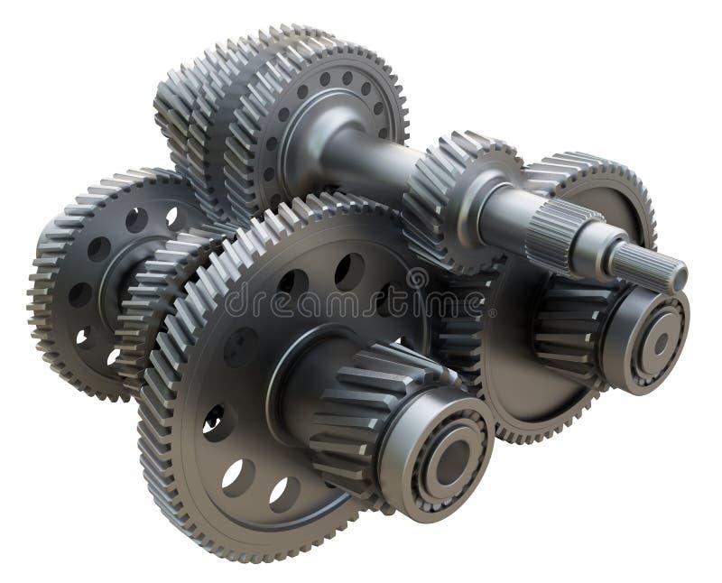 Växellådbegrepp Metallkugghjul, axlar och lager royaltyfri illustrationer