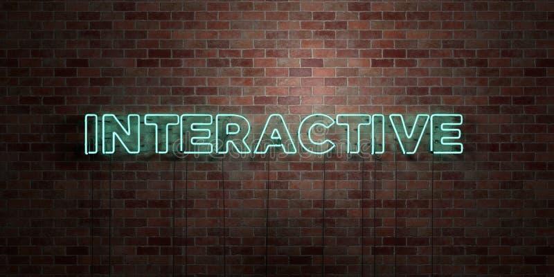 VÄXELVERKANDE - fluorescerande tecken för neonrör på murverk - främre sikt - 3D framförde den fria materielbilden för royalty royaltyfri illustrationer
