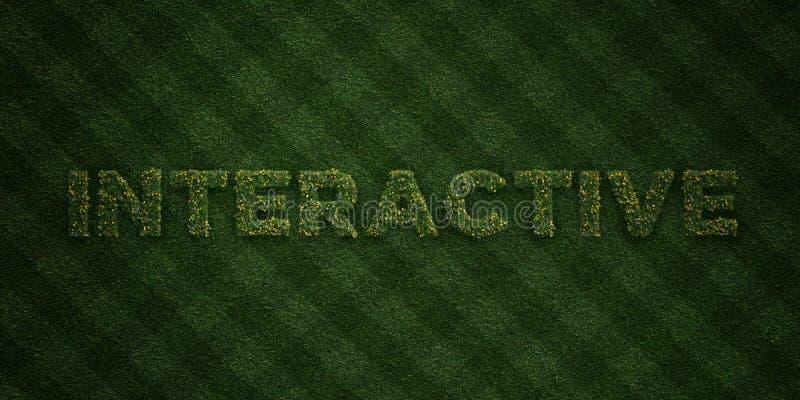 VÄXELVERKANDE - nya gräsbokstäver med blommor och maskrosor - 3D framförde fri materielbild för royalty royaltyfri illustrationer