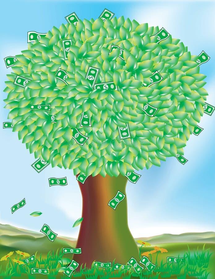 växer trees för pengar inte royaltyfri illustrationer