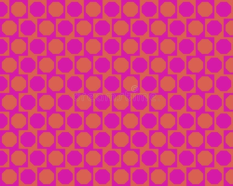växlad orange för magentafärgade oktogoner för konst op stock illustrationer