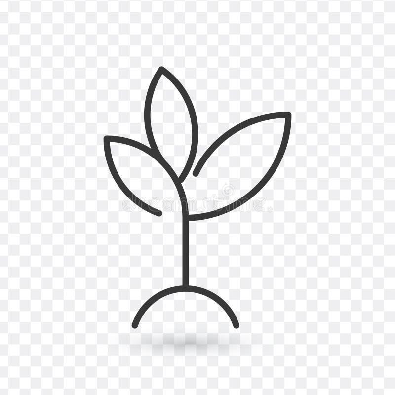 Växtöversiktssymbol linjärt stiltecken för mobilt begrepp och rengöringsdukdesign Växande enkel linje vektorsymbol för växt Symbo stock illustrationer