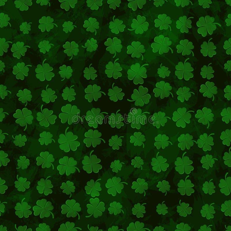 Växt av släktet Trifolium för gräsplan för modell för växt av släktet Trifolium för St Patricks sömlös på grungemörkerbakgrund royaltyfri illustrationer