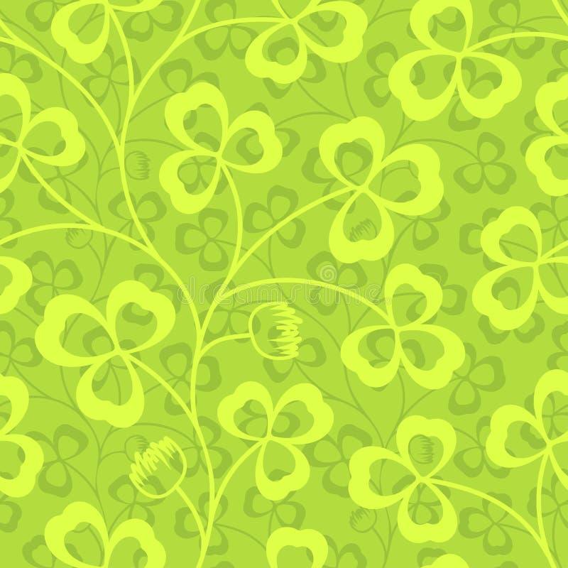 Växt av släktet Trifolium lämnar den sömlösa vektormodellen Bakgrund för gräsplan för dag för St Patrick ` s Treklövertapet vektor illustrationer