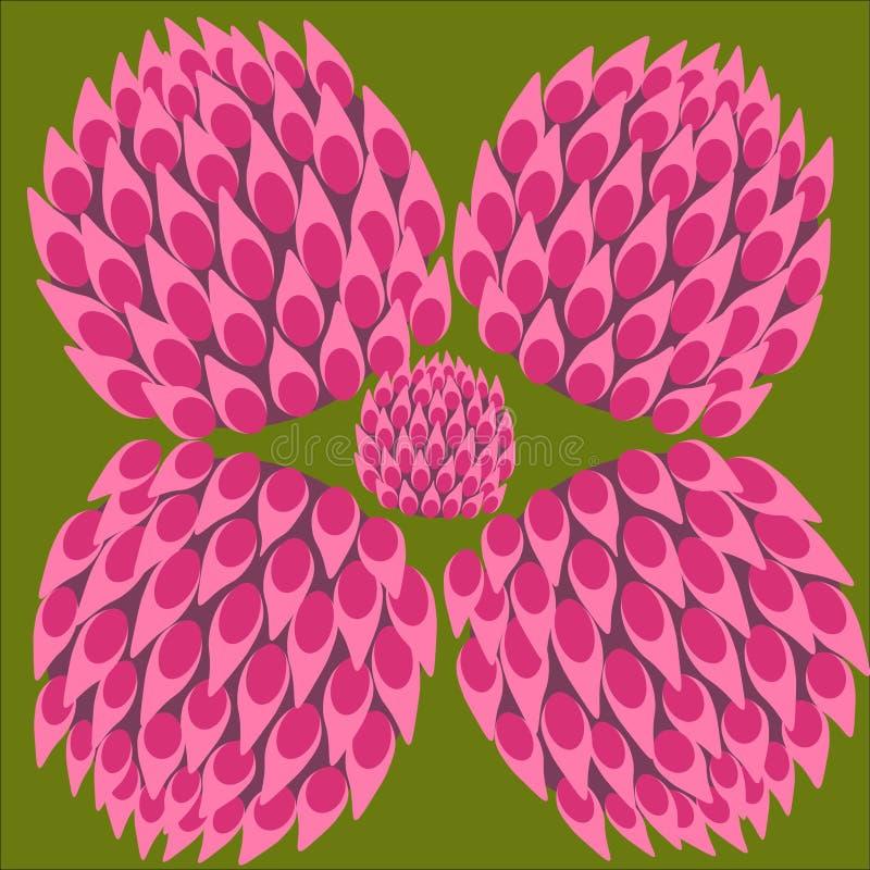Växt av släktet Trifoliumfärguppsättning, lyckasymbol, abstrakt växt av släktet Trifoliumblomma vektor illustrationer