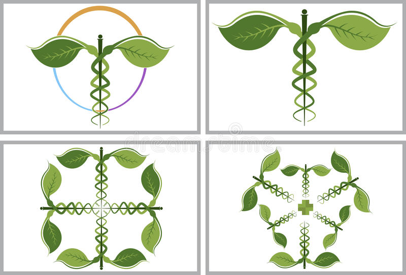 Växt- caduceussamlingslogoer royaltyfri illustrationer