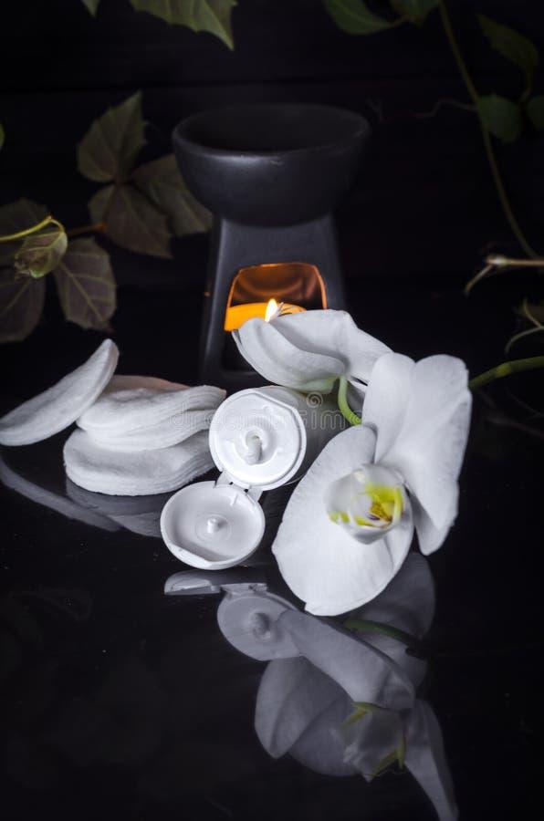 Växt- dermatologisk kosmetisk hygienisk kräm med blommor för hudomsorg arkivbilder