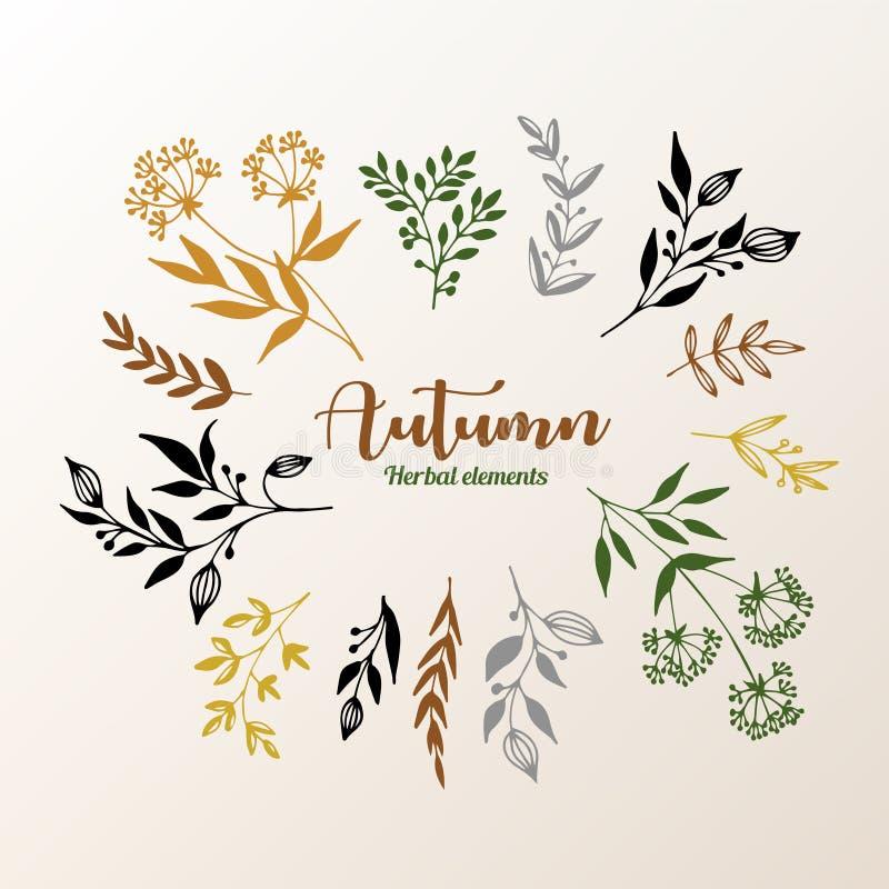 Växt- designbeståndsdelsamling royaltyfri illustrationer