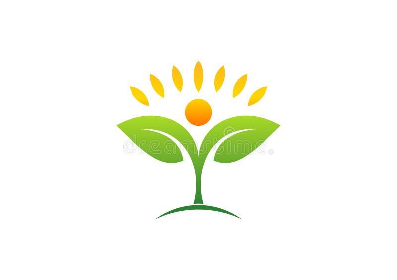 Växt, folk, naturligt, logo, hälsa, sol, blad, botanik, ekologi, symbol och symbol royaltyfri illustrationer