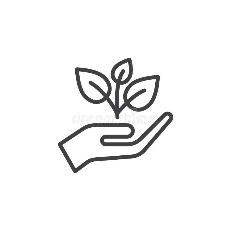 Växt grodd i en handlinje symbol, översiktsvektortecken, linjär stilpictogram som isoleras på vit stock illustrationer