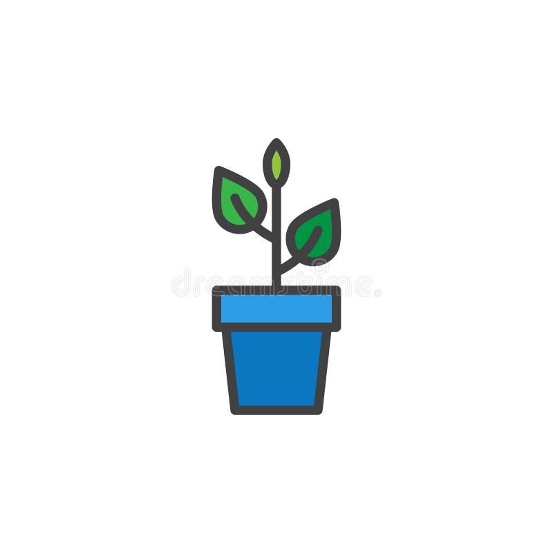 Växt i blomkruka fylld översiktssymbol vektor illustrationer