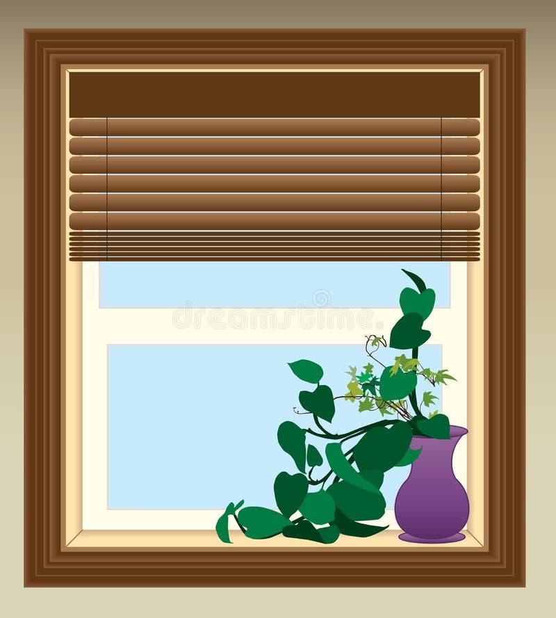 Växt i fönster royaltyfri illustrationer