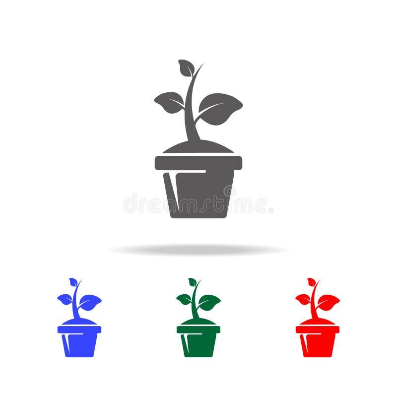 Växt i krukasymbolen Beståndsdelar av trädgården i mång- kulöra symboler Högvärdig kvalitets- symbol för grafisk design Enkel sym stock illustrationer