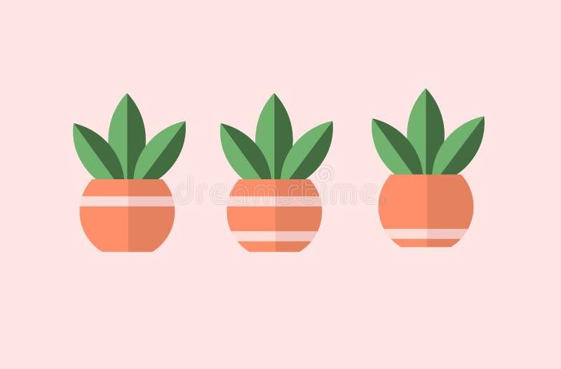 Växt i krukor med linjer 3 olika vektorer, enkla designer stock illustrationer