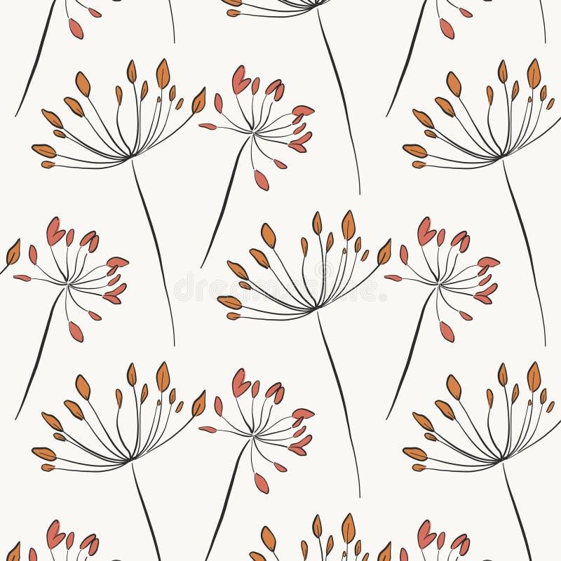 Växt- lantlig textur Botanisk naturlig konst med blommablomningen i pastellfärgade färger Eleganta bladträdgårdillustrationer gr? stock illustrationer