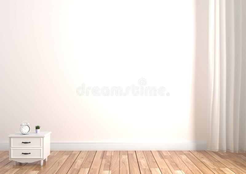 Växt och klocka på kabinett trägolv på tom vit väggbakgrund framf?rande 3d vektor illustrationer