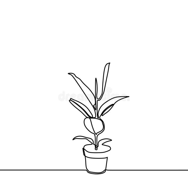 Växt på den fortlöpande en linjen teckningsminimalismstil för kruka royaltyfri illustrationer