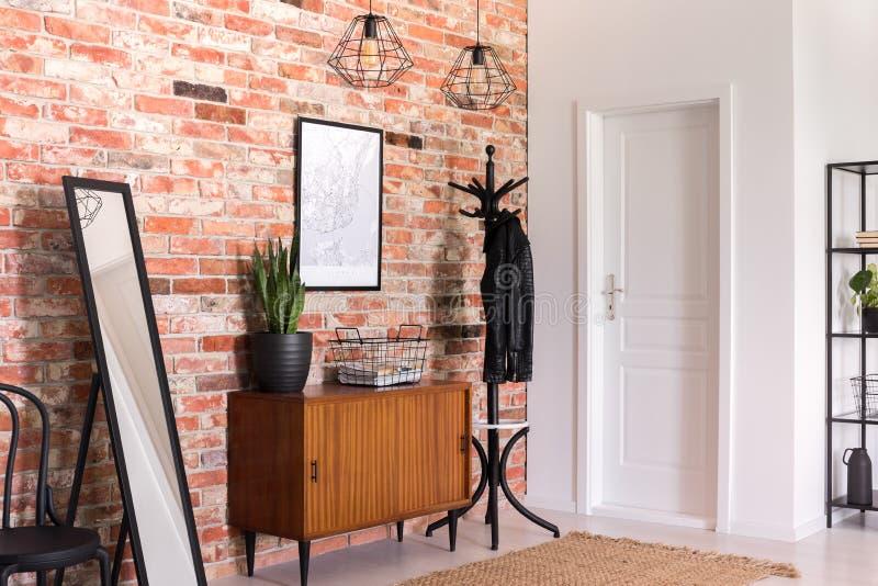 Växt på träkabinettet mellan spegeln och kuggen i det moderna förrummet som är inre med affischen Verkligt foto arkivbild