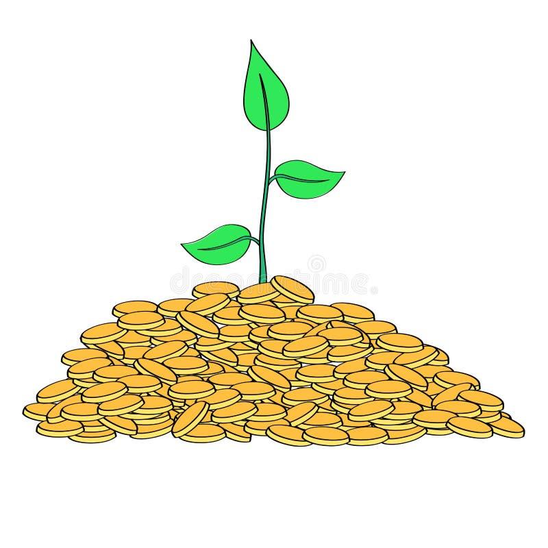 Växt som växer från högen av guld- mynt vektor illustrationer