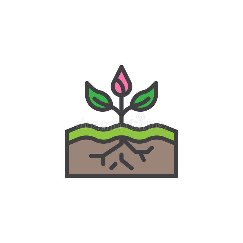 Växt som växer i jord fylld översiktssymbol vektor illustrationer