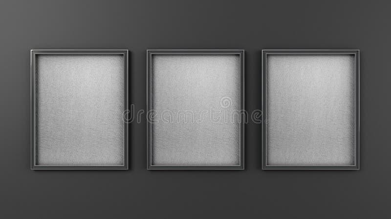 Växte den tomma rammodellen för modern konst tre på väggen 3d för att framföra stock illustrationer