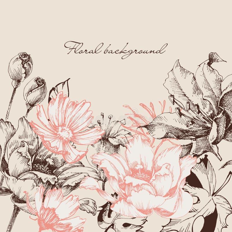 växten för torra blom- grungy leaves för bakgrund befläckte den gammala paper tappning vektor illustrationer