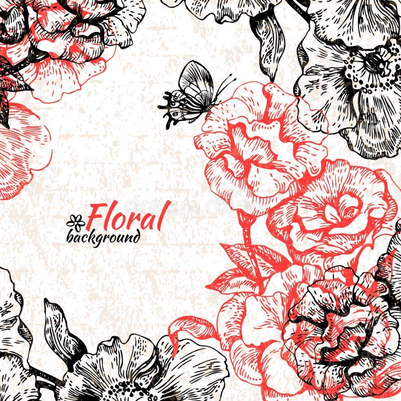 växten för torra blom- grungy leaves för bakgrund befläckte den gammala paper tappning illustratören för illustrationen för hande stock illustrationer
