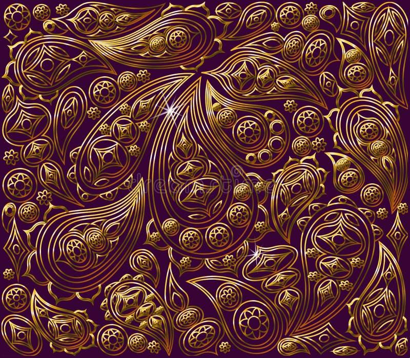 växten för torra blom- grungy leaves för bakgrund befläckte den gammala paper tappning Kunglig guld för vektor och lilamodell royaltyfri illustrationer