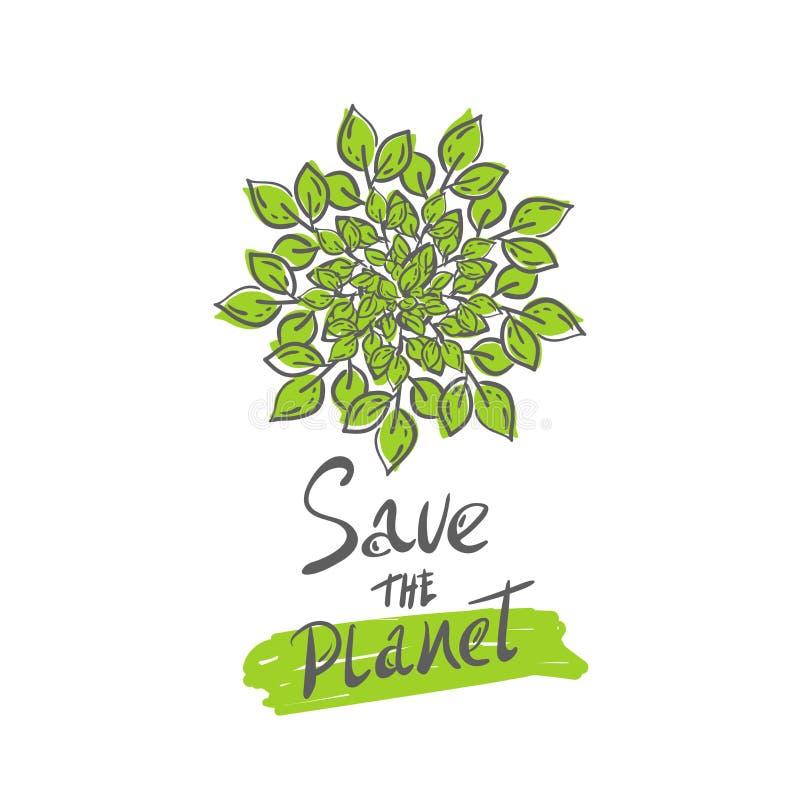 Växten med sidor växer, den gröna cirkeln som isoleras på vit bakgrund Emblem för besparingplanetbegrepp logo mandala symbol vektor illustrationer