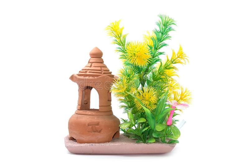 Växter för vatten för Artificiail plast-gräsplan för akvariumgarnering royaltyfri fotografi